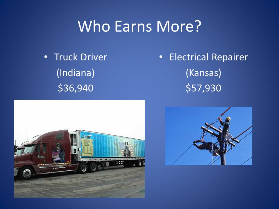 Who Earns More Truck Driver (Indiana) $36,940 Electrical Repairer