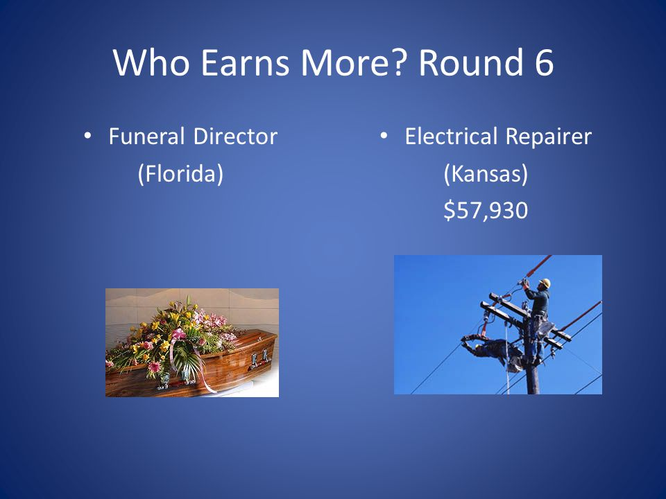 Who Earns More Round 6 Funeral Director (Florida) Electrical Repairer