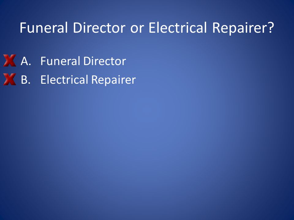Funeral Director or Electrical Repairer