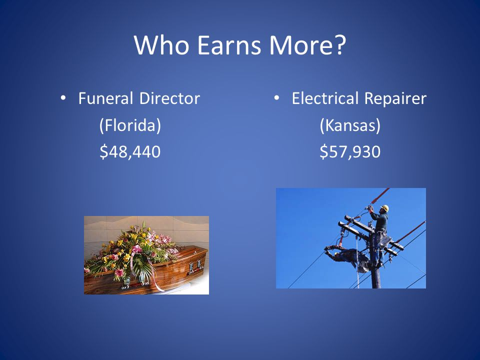 Who Earns More Funeral Director (Florida) $48,440 Electrical Repairer