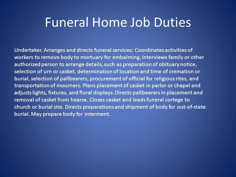 Funeral Home Job Duties