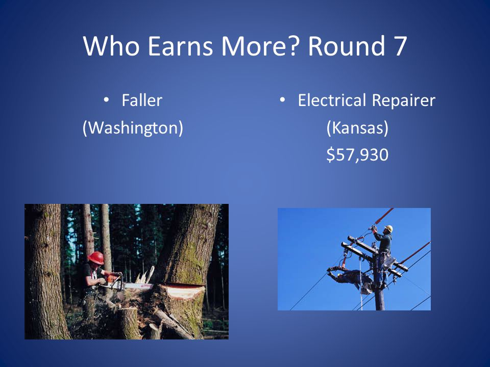 Who Earns More Round 7 Faller (Washington) Electrical Repairer