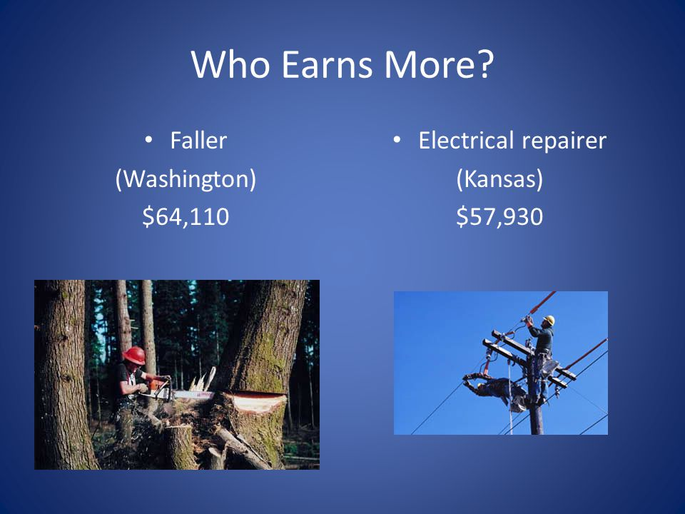 Who Earns More Faller (Washington) $64,110 Electrical repairer