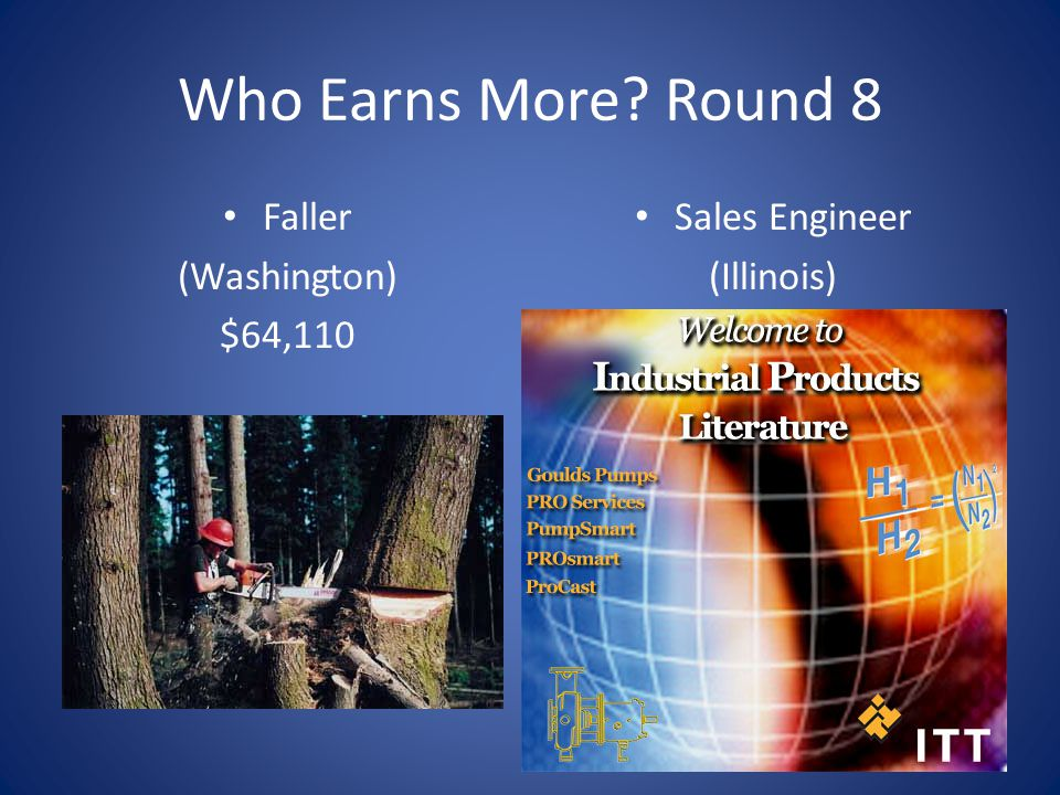 Who Earns More Round 8 Faller (Washington) $64,110 Sales Engineer