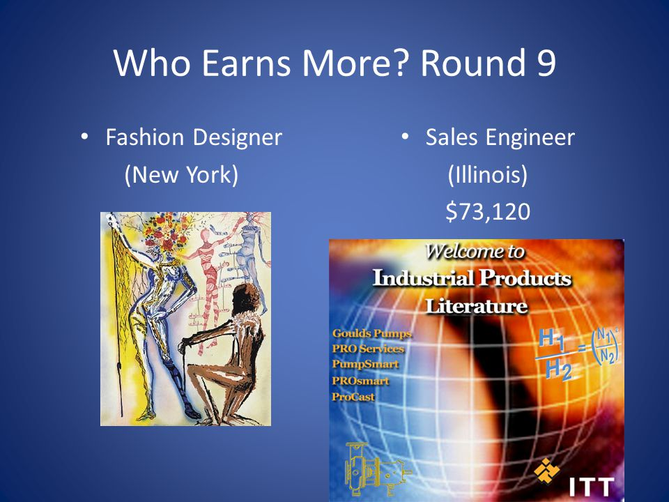 Who Earns More Round 9 Fashion Designer (New York) Sales Engineer