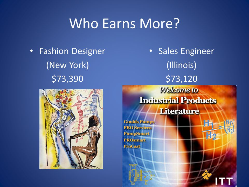 Who Earns More Fashion Designer (New York) $73,390 Sales Engineer