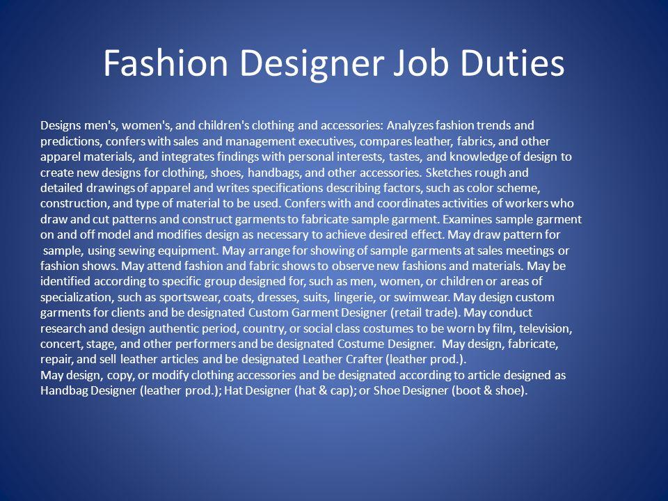 Fashion Designer Job Duties