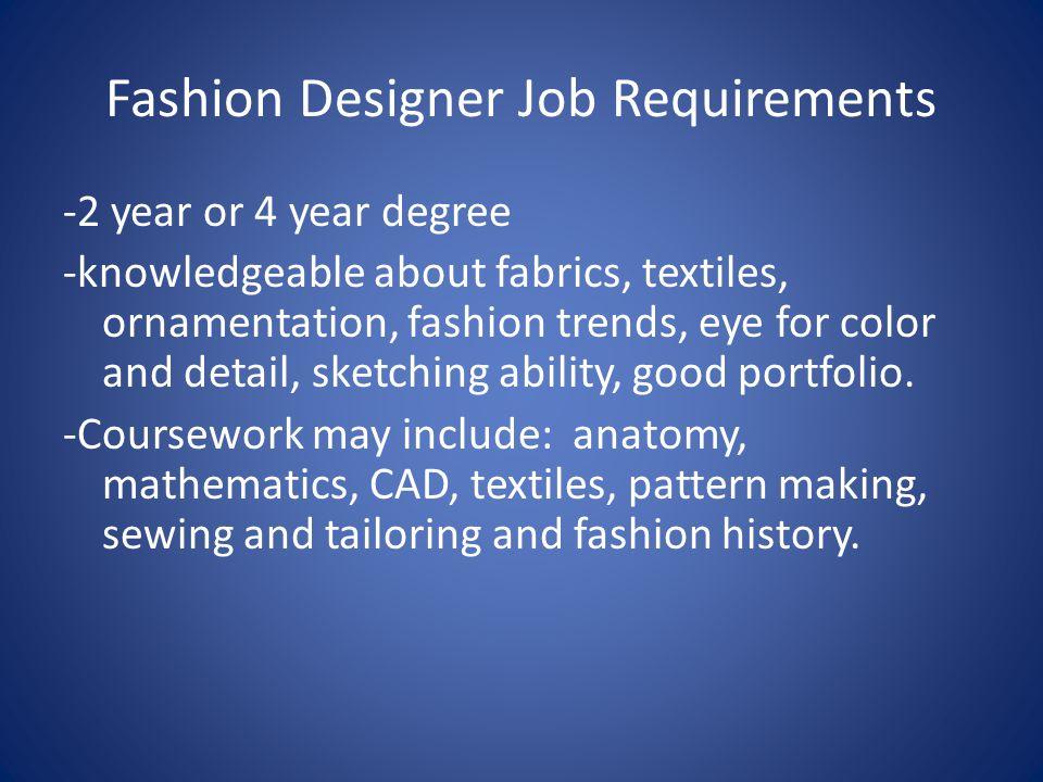 Fashion Designer Job Requirements