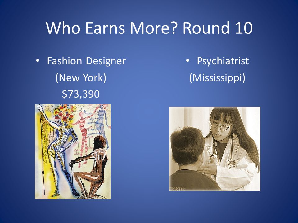 Who Earns More Round 10 Fashion Designer (New York) $73,390