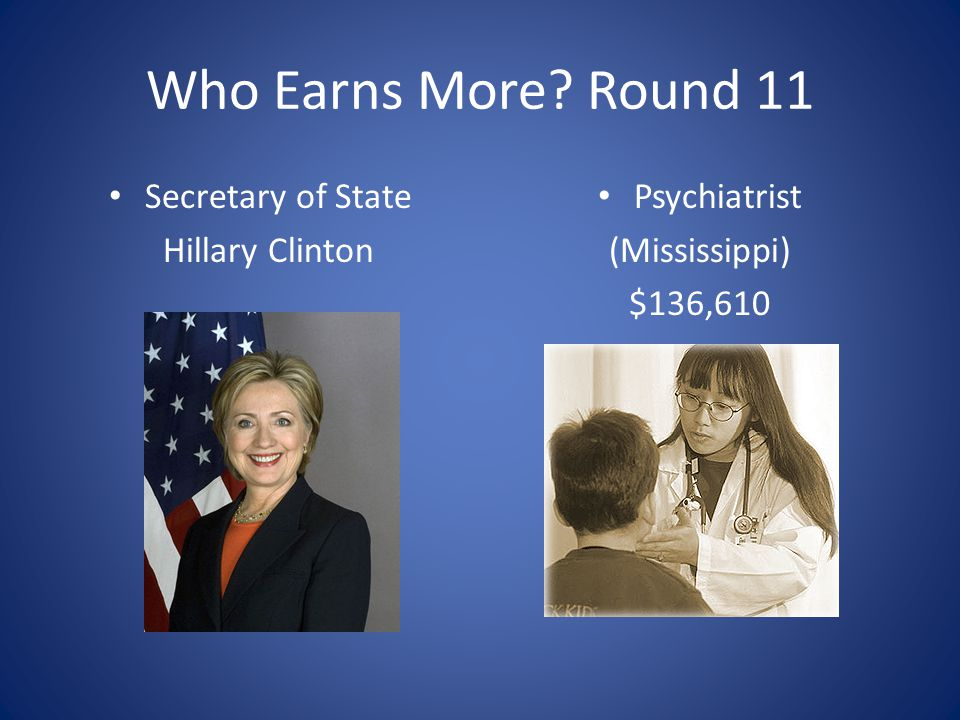Who Earns More Round 11 Secretary of State Hillary Clinton