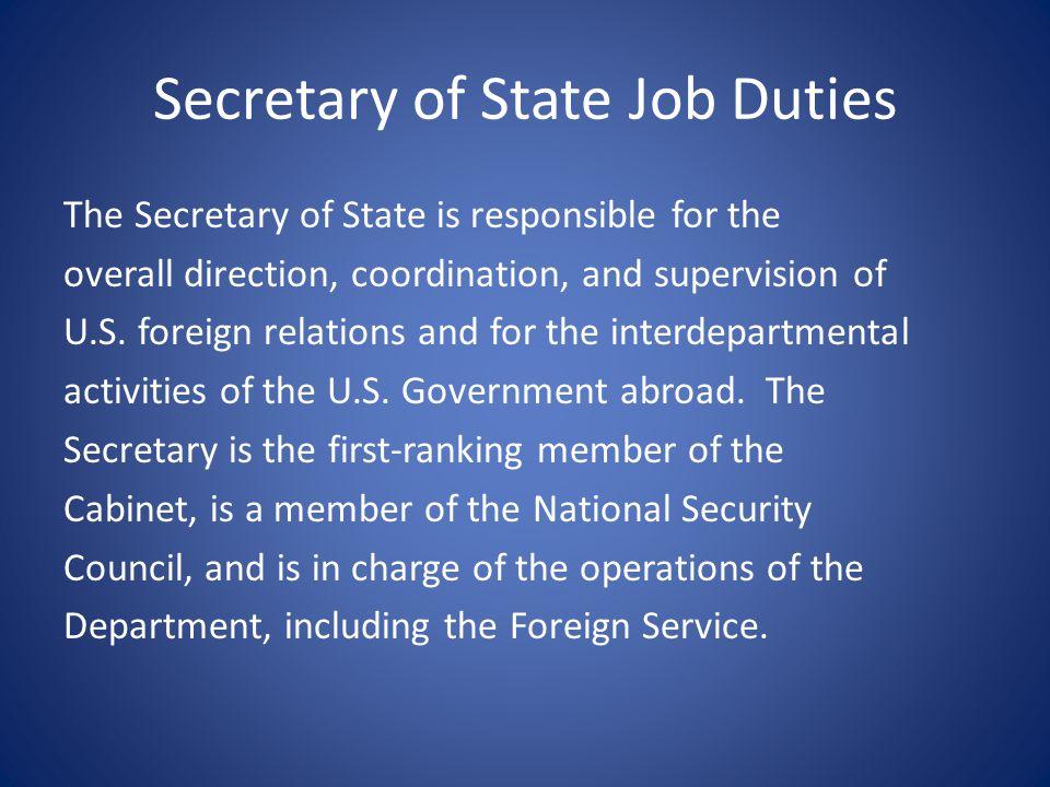 Secretary of State Job Duties