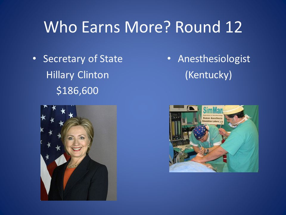 Who Earns More Round 12 Secretary of State Hillary Clinton $186,600