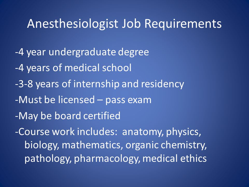 Anesthesiologist Job Requirements