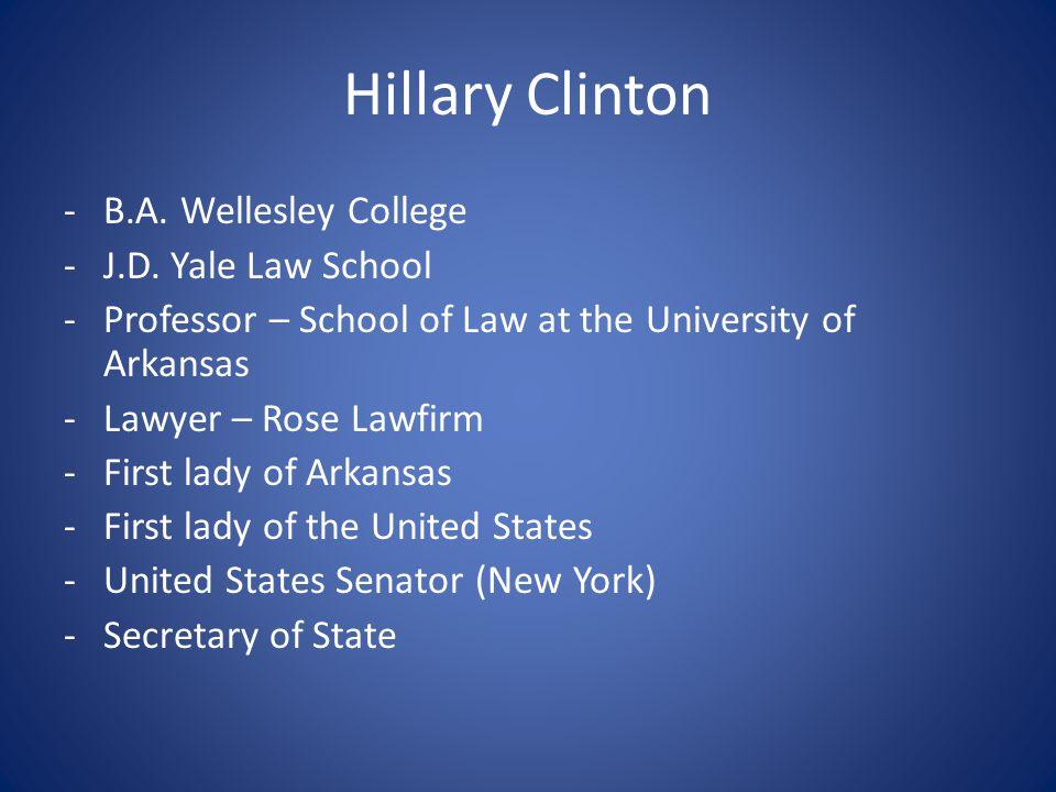 Hillary Clinton B.A. Wellesley College J.D. Yale Law School