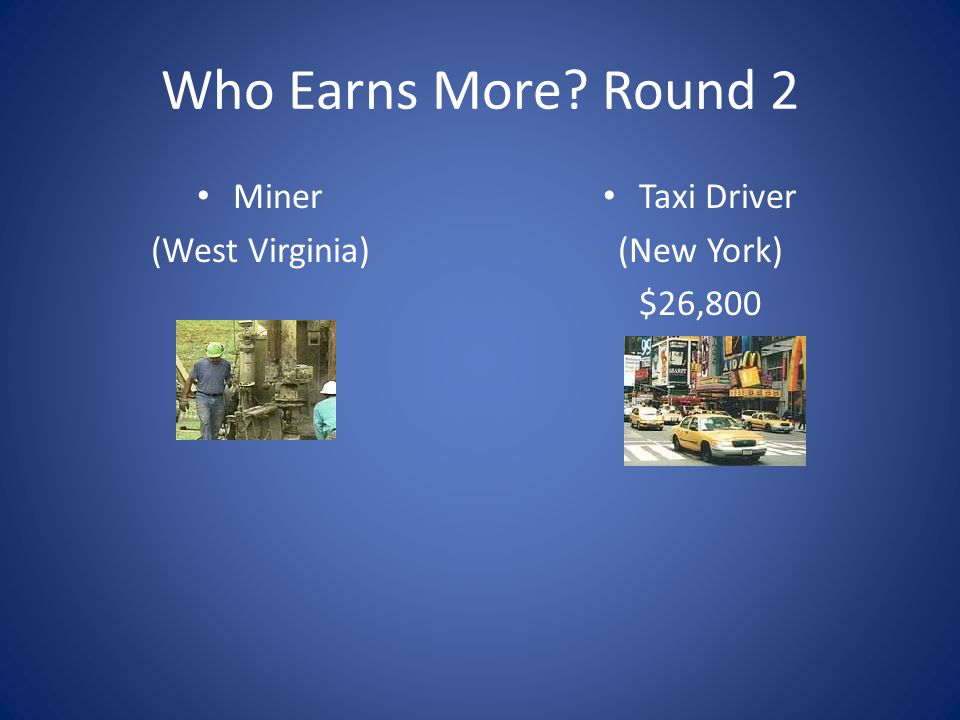 Who Earns More Round 2 Miner (West Virginia) Taxi Driver (New York)