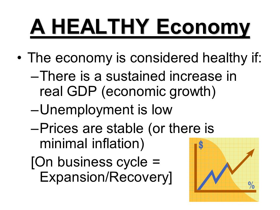 A HEALTHY Economy The economy is considered healthy if: