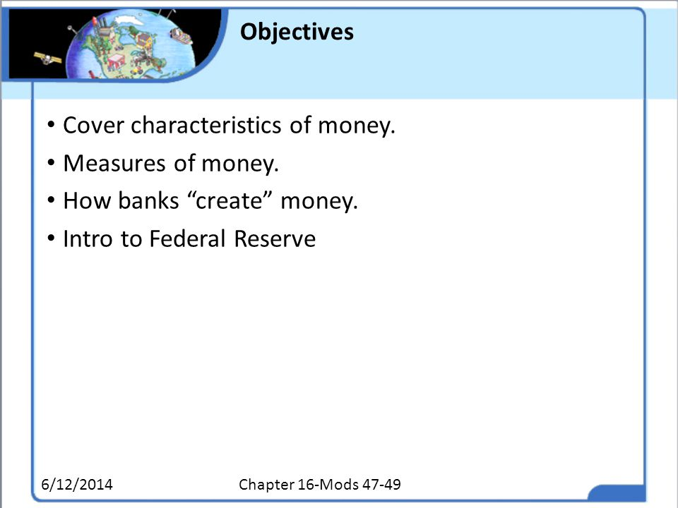 Cover characteristics of money. Measures of money.