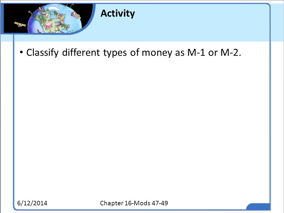 Classify different types of money as M-1 or M-2.