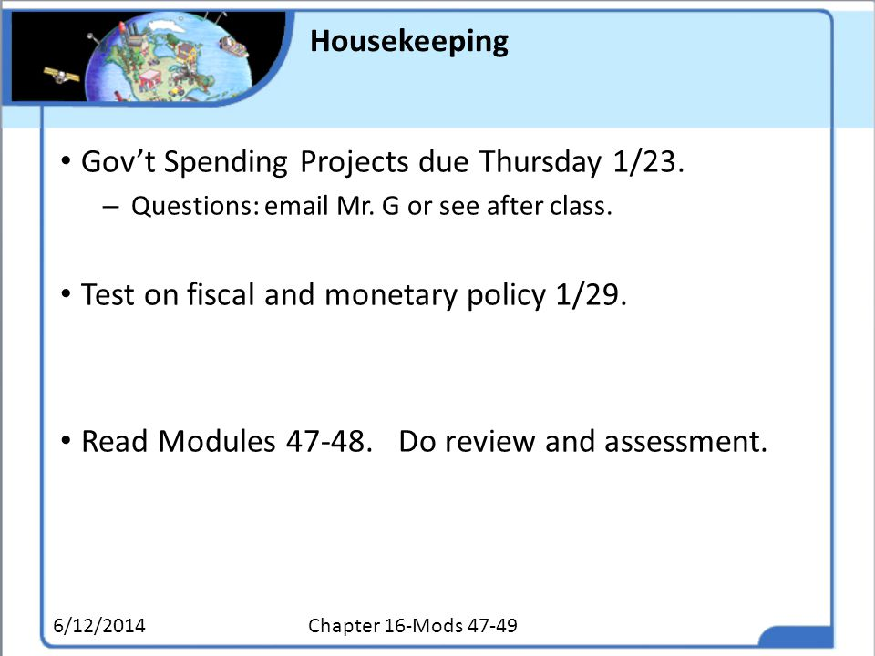 Gov't Spending Projects due Thursday 1/23.