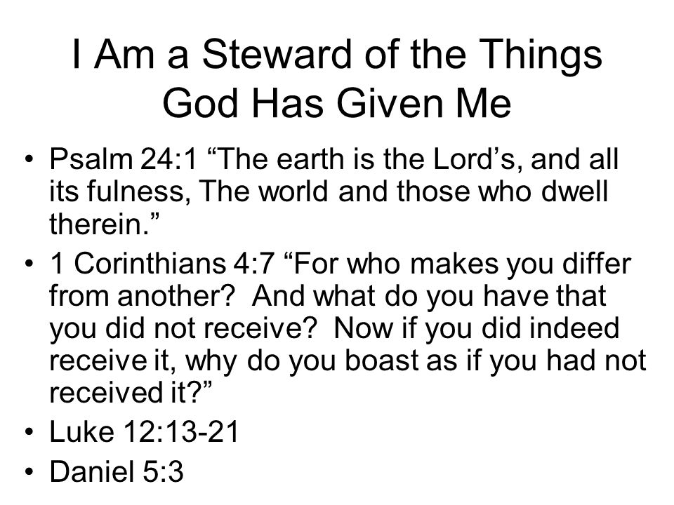 I Am a Steward of the Things God Has Given Me
