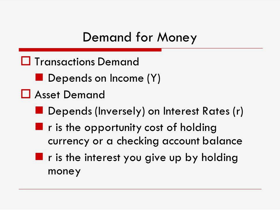 Demand for Money Transactions Demand Depends on Income (Y)