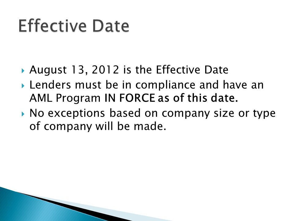 Effective Date August 13, 2012 is the Effective Date
