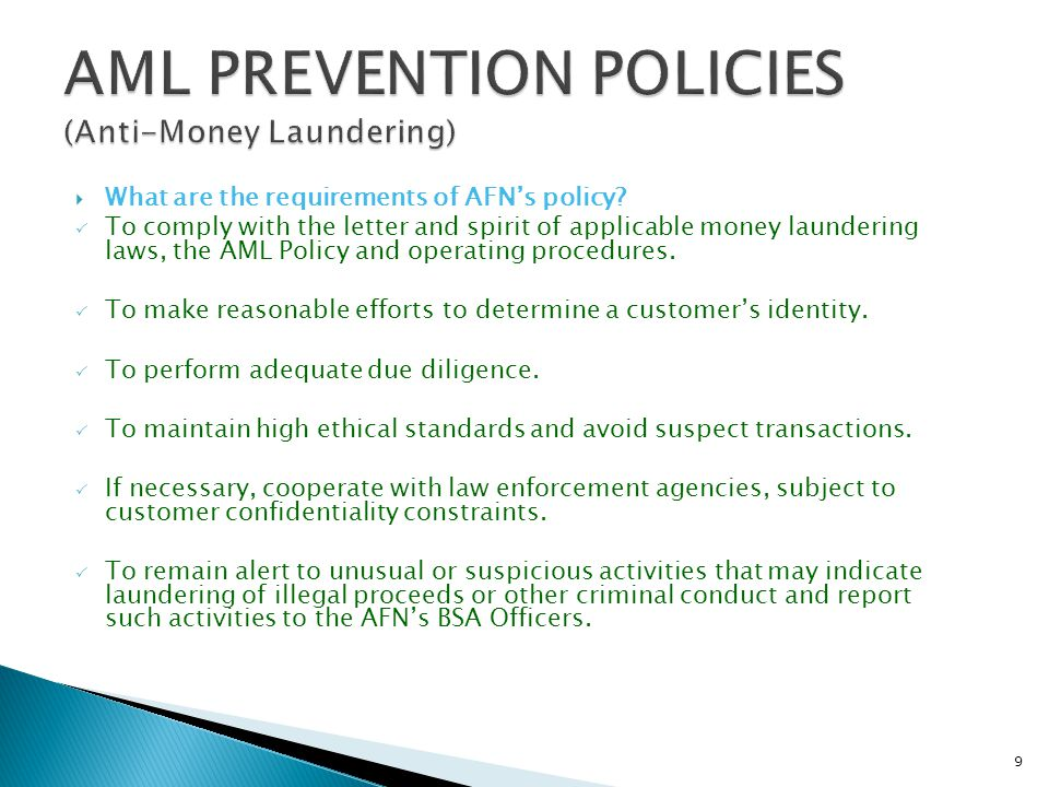 AML PREVENTION POLICIES (Anti-Money Laundering)