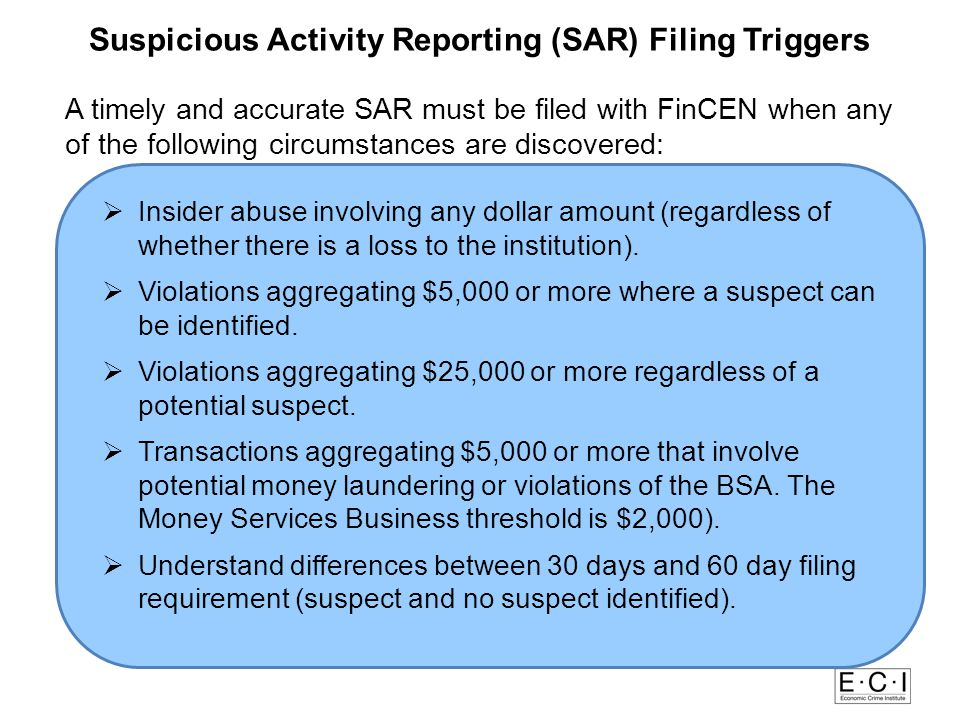 Red F Suspicious Activity Reporting (SAR) Filing Triggers lags for Suspicious Activity