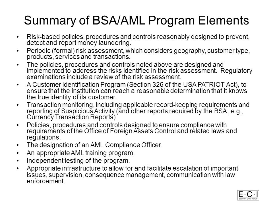 Summary of BSA/AML Program Elements