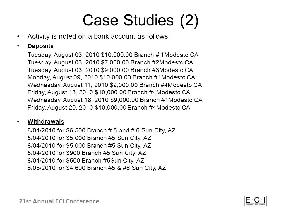 Case Studies (2) Activity is noted on a bank account as follows: