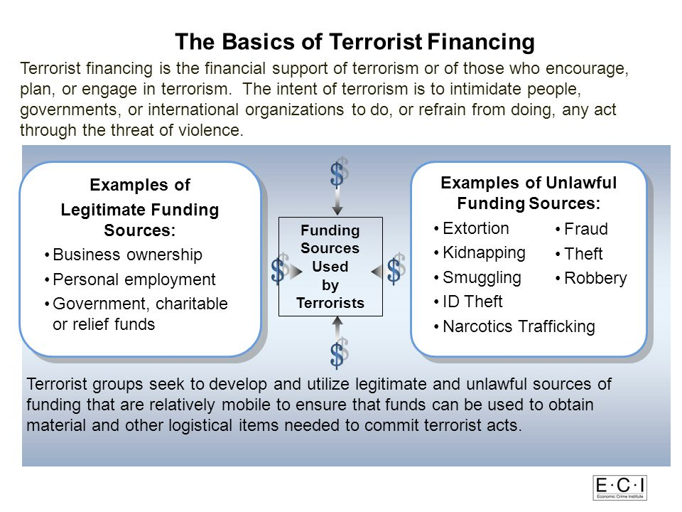 The Basics of Terrorist Financing Legitimate Funding Sources:
