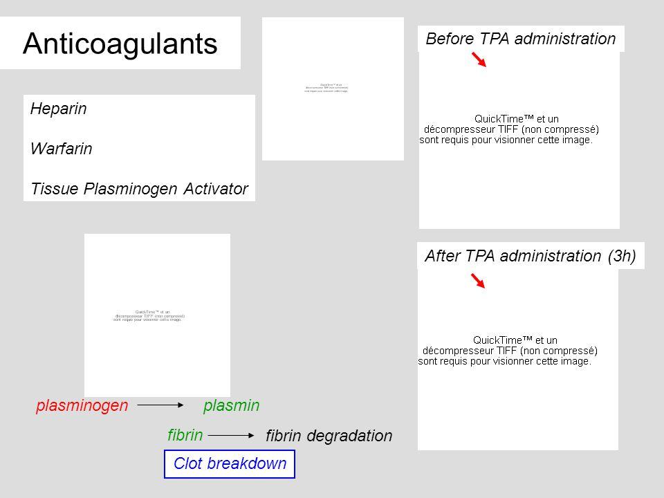 Anticoagulants Before TPA administration Heparin Warfarin