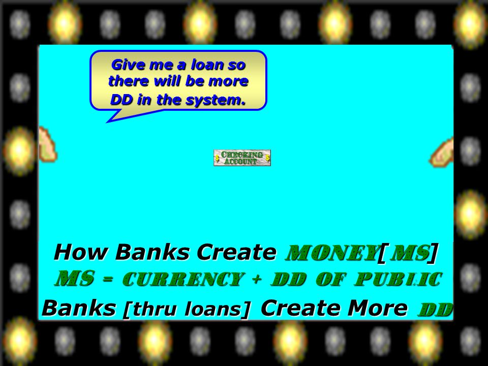 How Banks Create Money[MS] MS = Currency + DD of Public