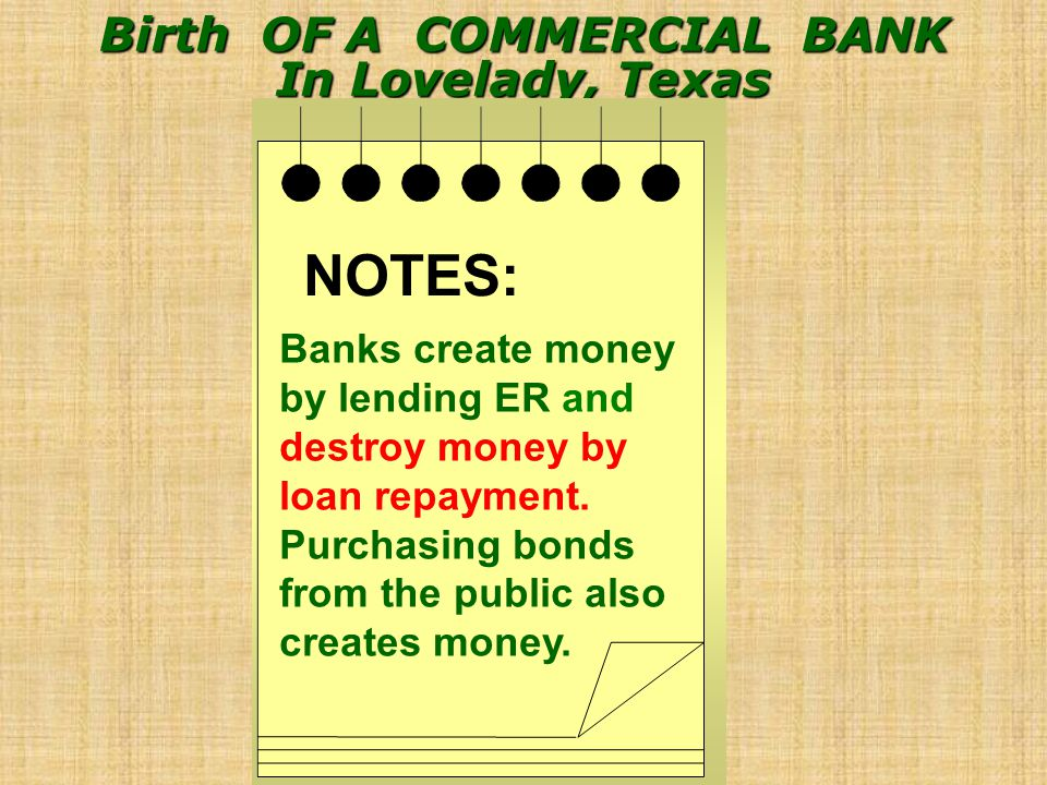 Birth OF A COMMERCIAL BANK