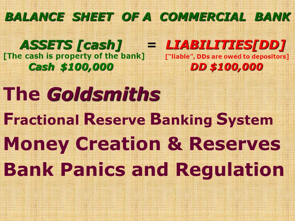 BALANCE SHEET OF A COMMERCIAL BANK