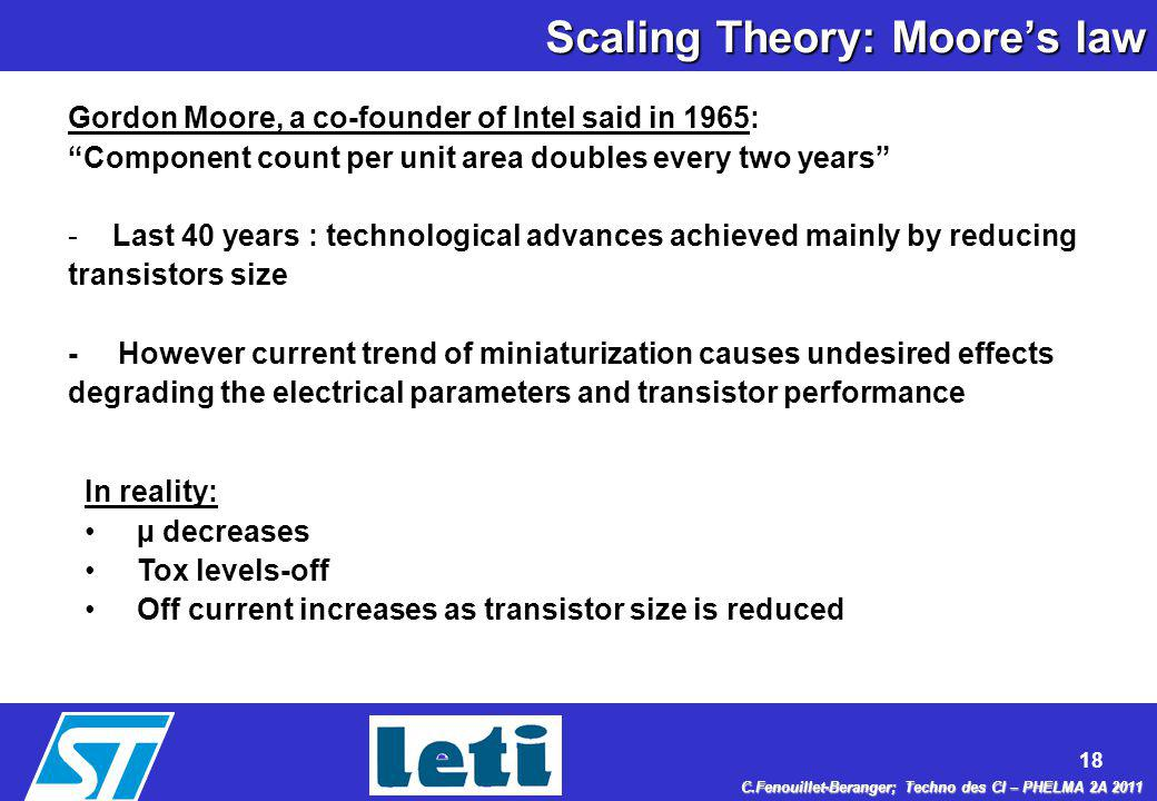 Scaling Theory: Moore's law