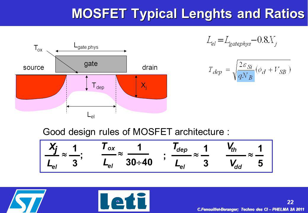 MOSFET Typical Lenghts and Ratios