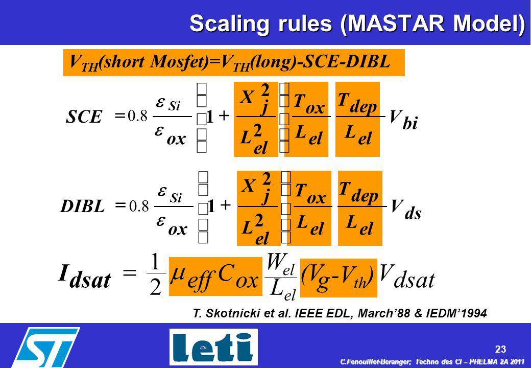 Scaling rules (MASTAR Model)