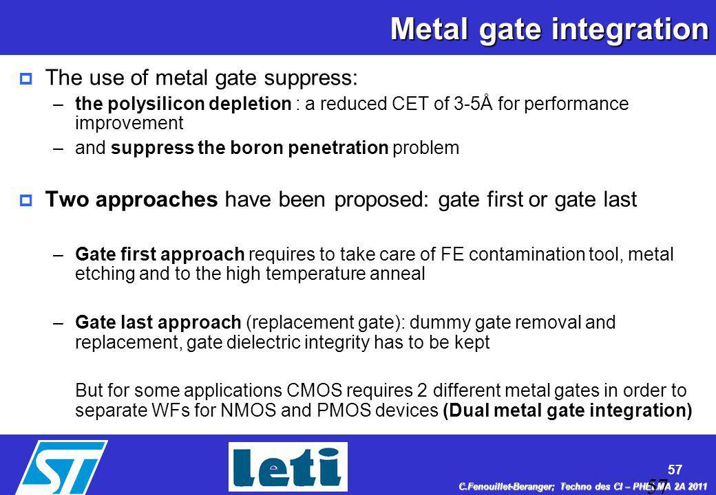 Metal gate integration