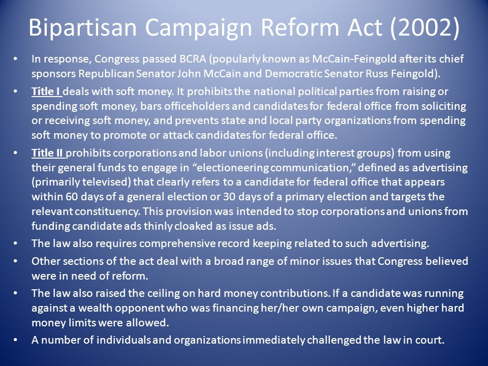 Bipartisan Campaign Reform Act (2002)