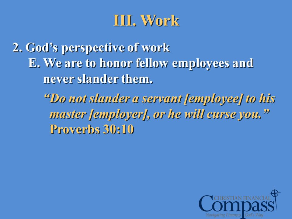 III. Work 2. God's perspective of work