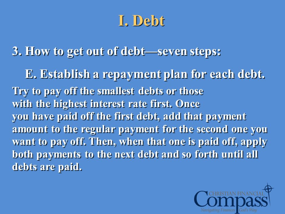 I. Debt 3. How to get out of debt—seven steps: