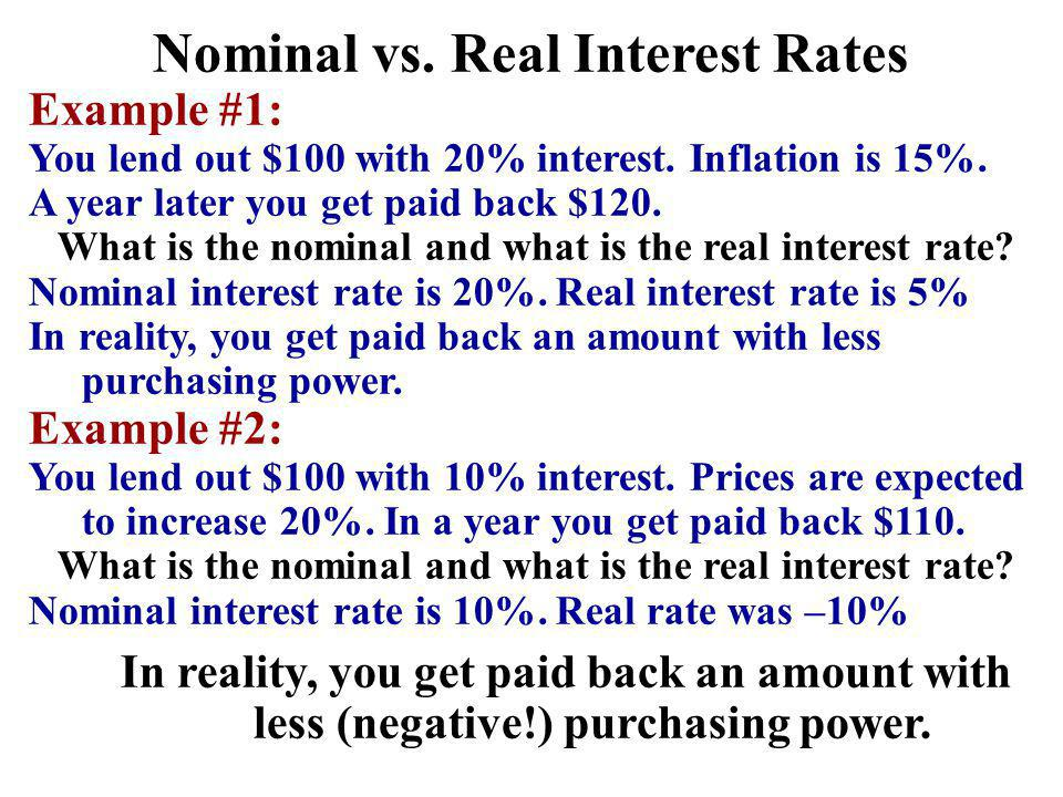 Nominal vs. Real Interest Rates