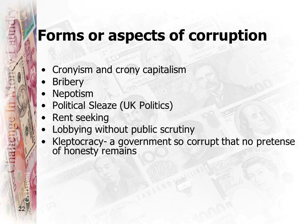 Forms or aspects of corruption