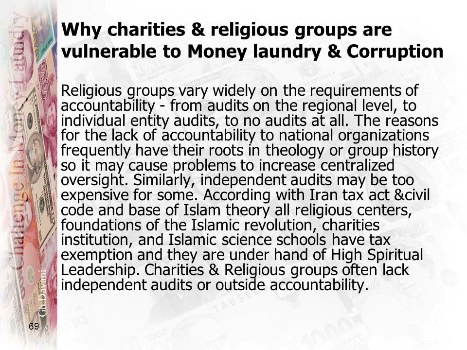Why charities & religious groups are vulnerable to Money laundry & Corruption