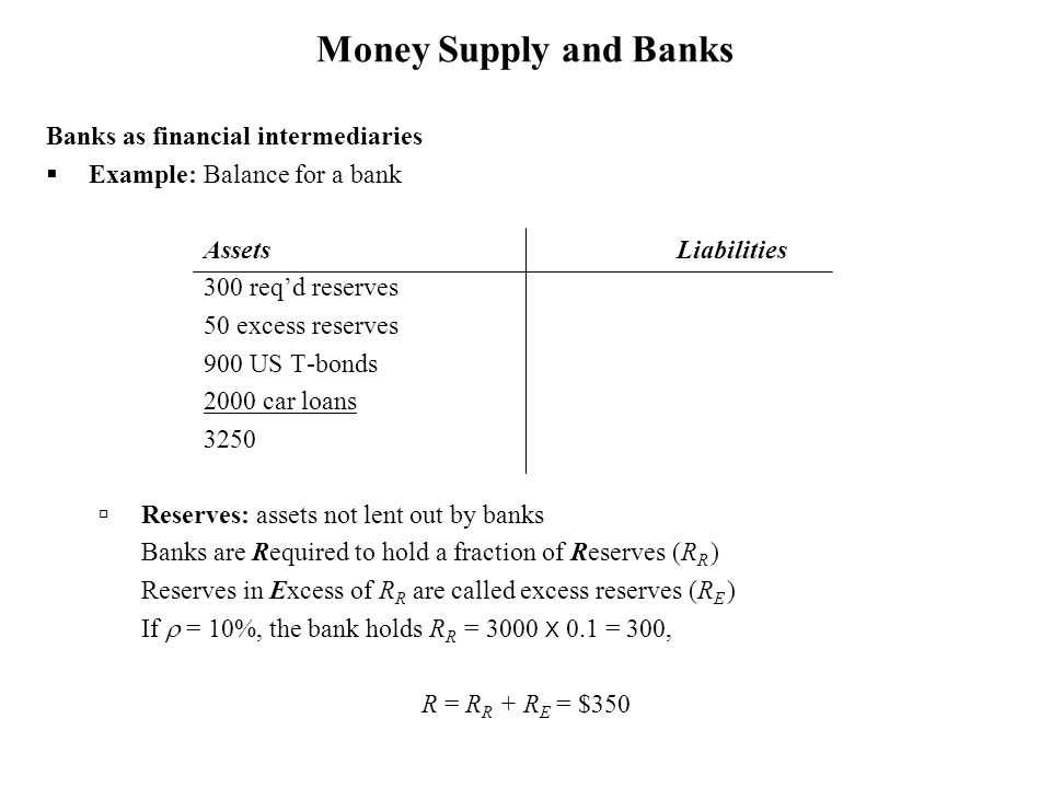 Money Supply and Banks Banks as financial intermediaries