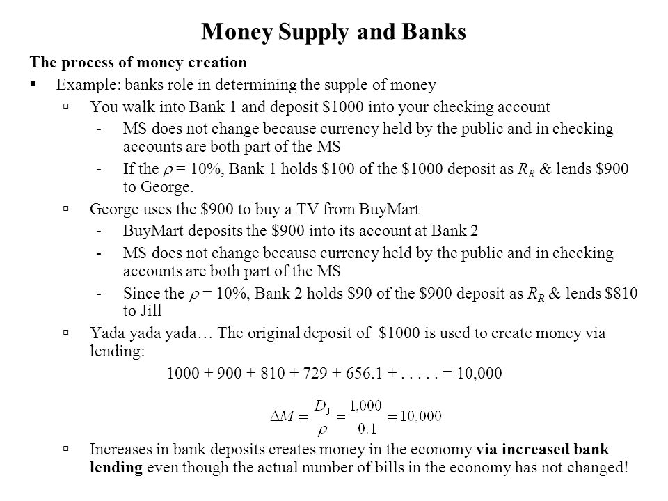 Money Supply and Banks The process of money creation