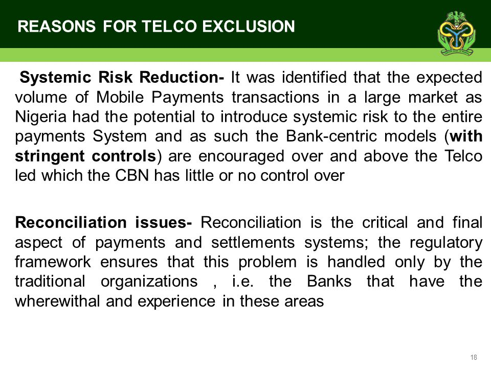 REASONS FOR TELCO EXCLUSION