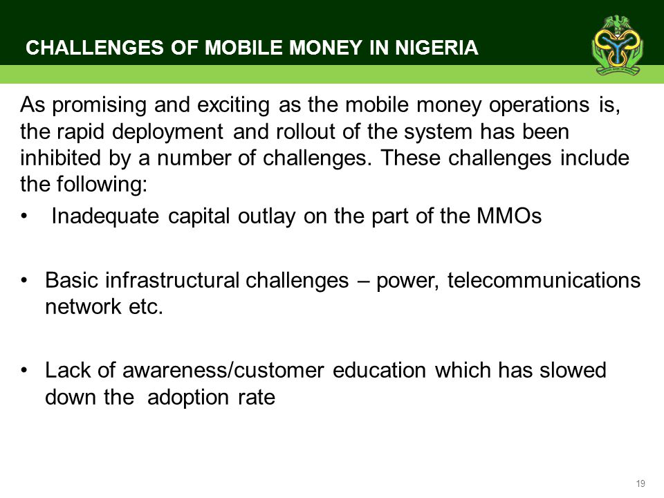 CHALLENGES OF MOBILE MONEY IN NIGERIA