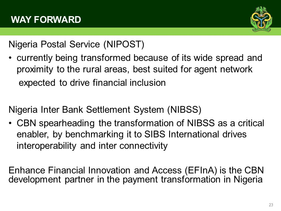 WAY FORWARD Nigeria Postal Service (NIPOST)
